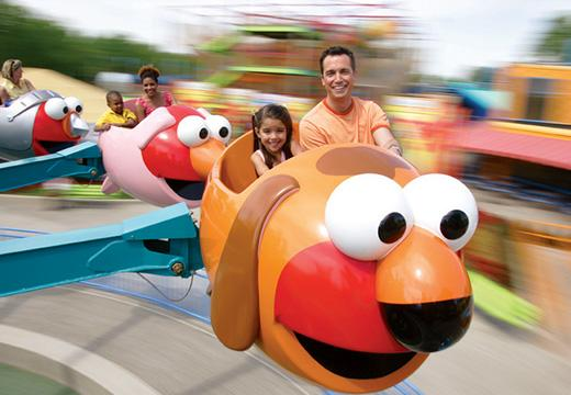 Family riding a ride at Sesame Place