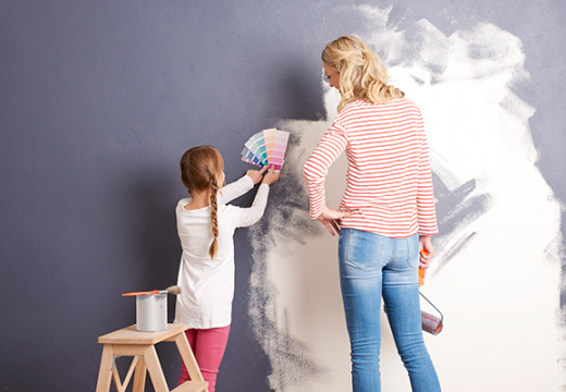 Mother and daughter painting room