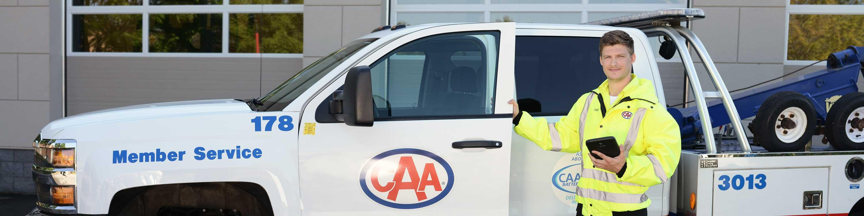 CAA Driver holding tablet