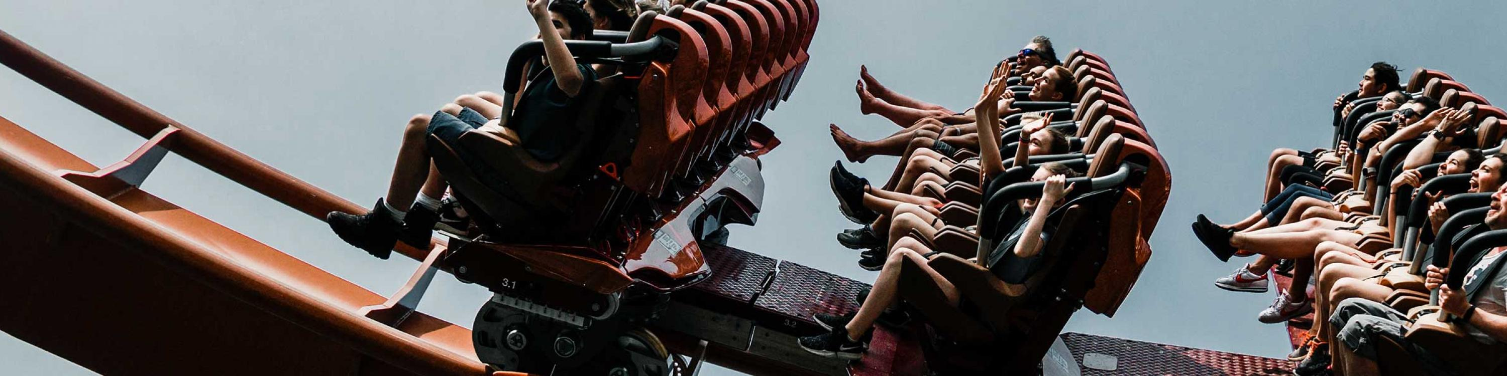 Group of people on roller coaster